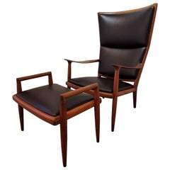 Sam Maloof Leather Lounge Chair and Ottoman
