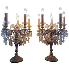 One Pair of Table Spanish Chandeliers with Crystals, Mid-20th Century