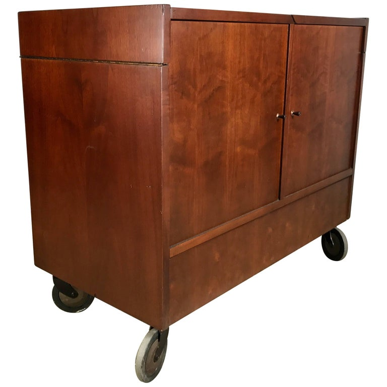 Classic Mid-Century Modern Portable Rolling Fold Out Bar Cart