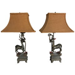 Pair of Antique Chinese Pewter Gazelle Themed Table Lamps