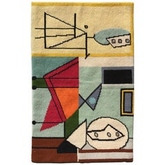 Modernist Abstract Hand-Loomed Rug or Wall Hanging, after Picasso