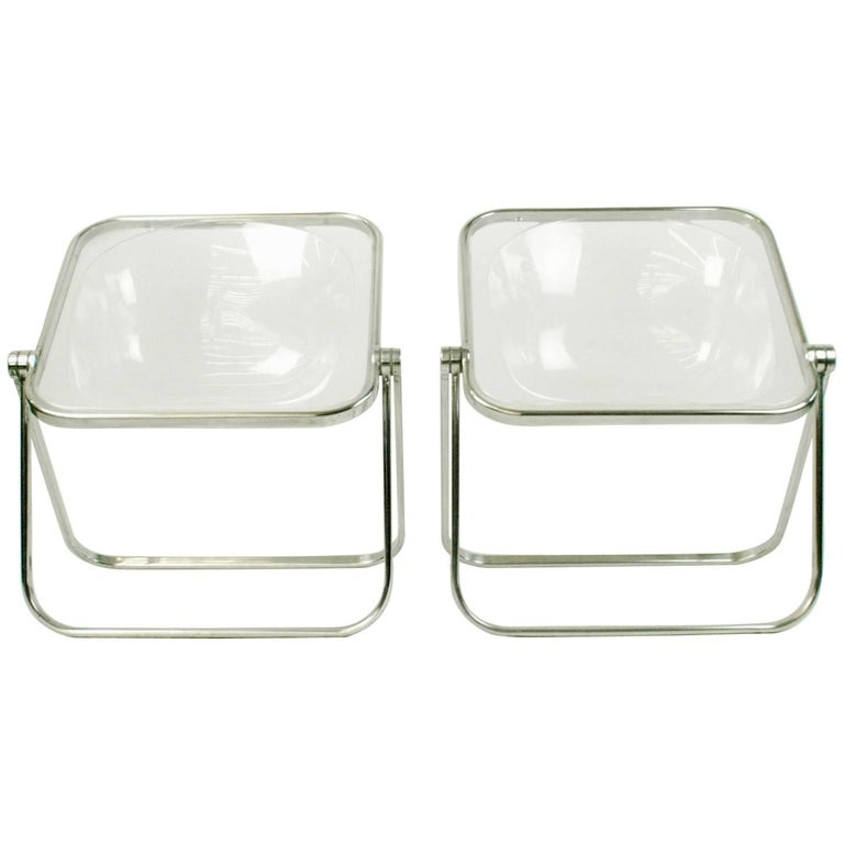 Pair of Plona Folding Chairs by Giancarlo Piretti for Castelli