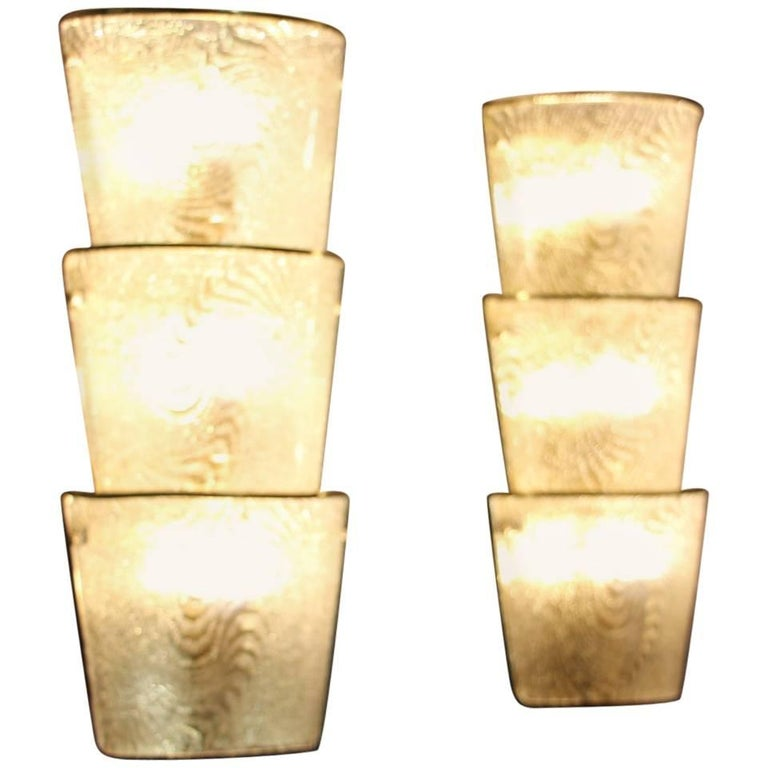Pair of Italian Sconces in White Murano Glass and Brass