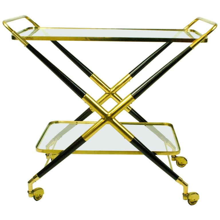 Italian Midcentury Brass and Glass Serving Trolley or Bar Cart by Cesare Lacca