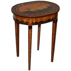Exquisite Italianate Marquetry Inlaid Side Table with Drawers
