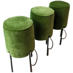Set of Three Italian Bar Stools, Green, Midcentury