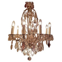 French Chandelier 16-Light Bronze with Silver Patina, Crystals, Large Pinnacle