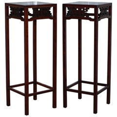 Chinese Chen Leung Rosewood Plant Pot Jardiniere Stand Signed Fret Tiles