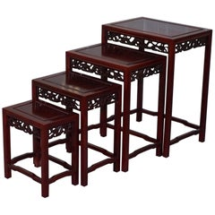 Chinese Vintage Rosewood Dragon Carved Nest of Four Tables