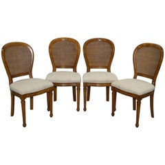 Cherry Wood Grand France Set of Four Berger Rattan Dining Chairs