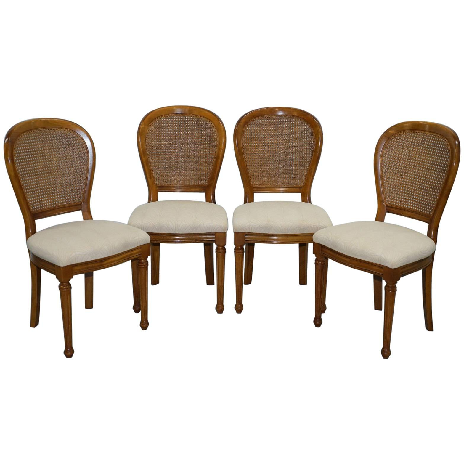 cherry wood grand france set of four berger rattan dining chairs 1