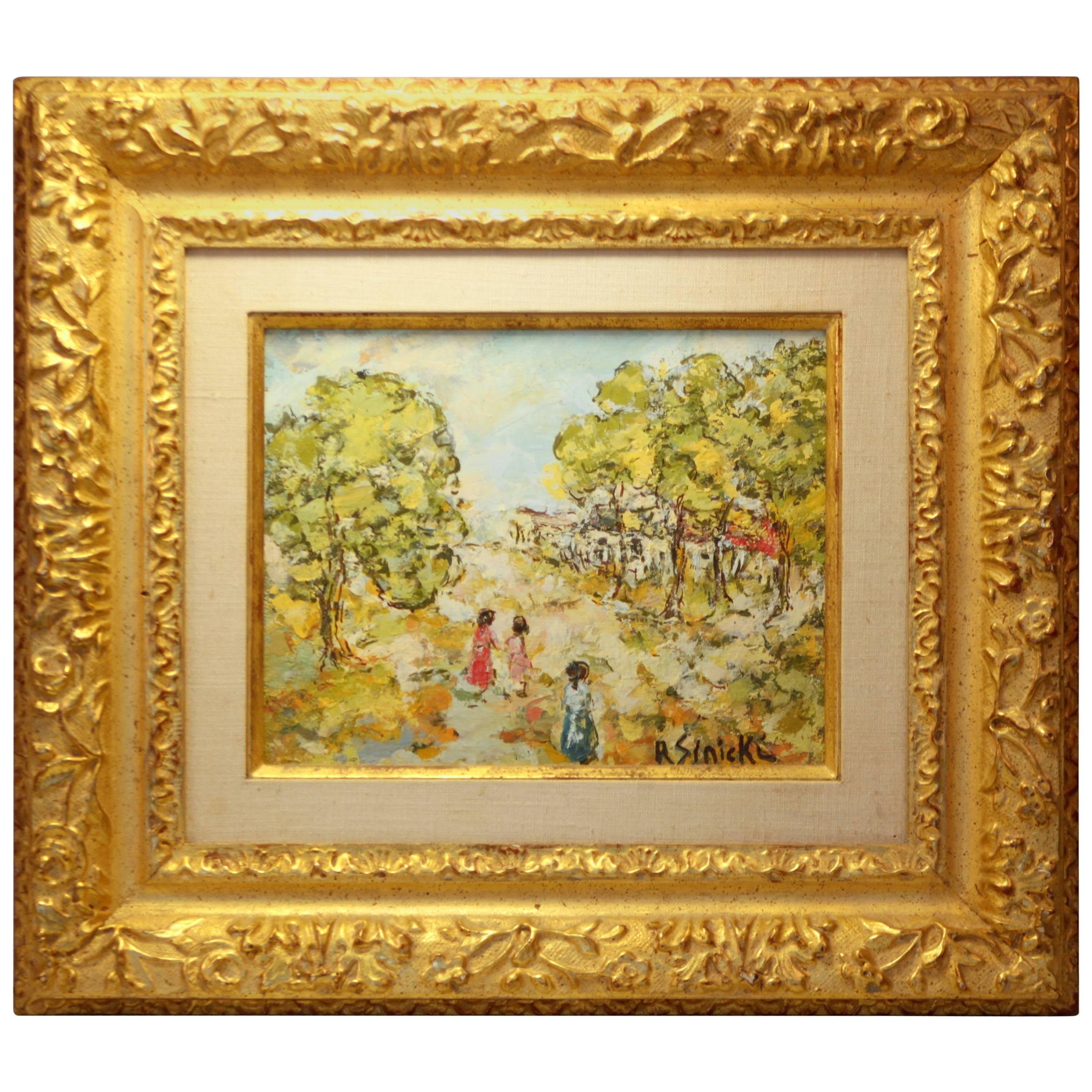 Oil on Board French / Russian Painting Signed by René Sinicki, circa 1970