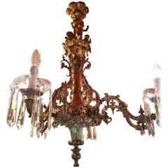 Bronze Chandelier with Angels and Crystals Six-Light