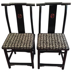 19th Century Qing Dynasty Black and Red Lacquered Side Chair