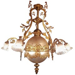 French Bronze Empire Style Chandelier with a Globe of Victorian Cut-Glass
