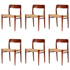 Mid Century Niels Ø. Møller Model 75 Dinning Chairs in Teak and Paper Cord
