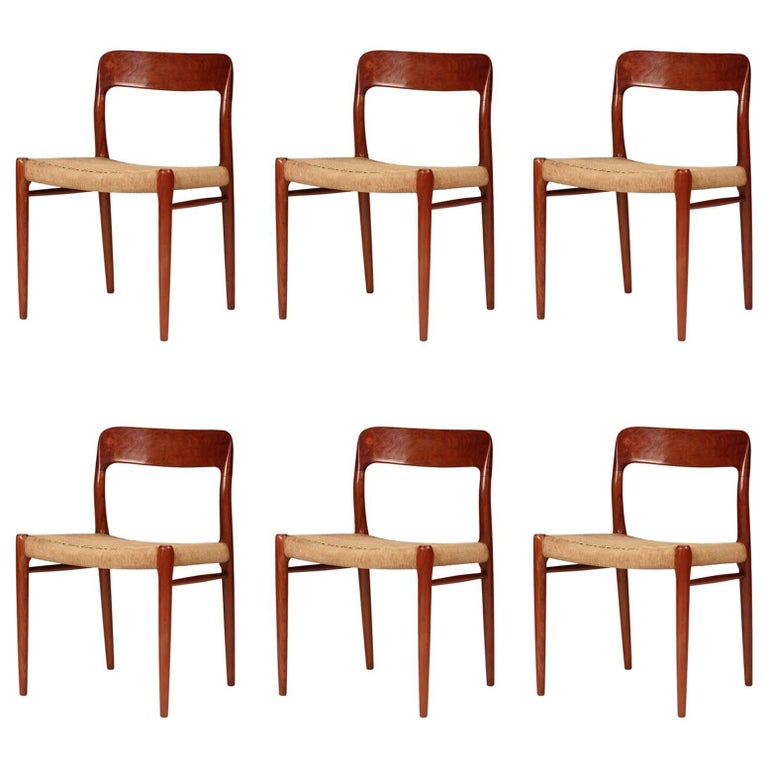 Mid Century Niels Ø. Møller Model 75 Dining Chairs in Teak and Paper Cord