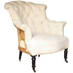 19th Century Napoleon III Buttoned Back Armchair