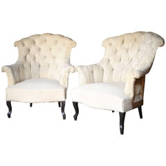 Pair of 19th Century Napoleon III High Backed Buttoned Armchairs