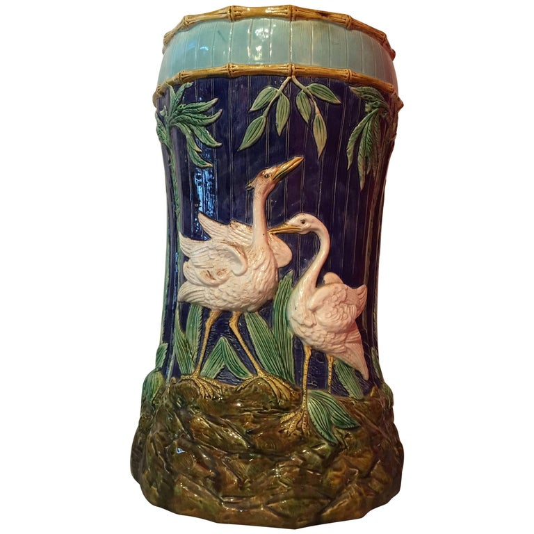 Majolica Garden Seat, Thomas Forester & Sons For Sale