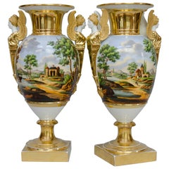 Early 19th Century Pair of Large Egg Shaped Vases, Italian Landscapes, Paris