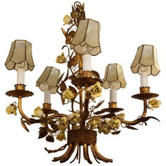 1950s Tole Chandelier with Yellow Roses