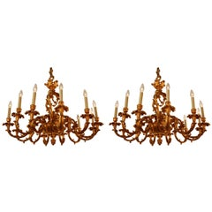 Pair of Louis XV Style French Doré Bronze Chandeliers