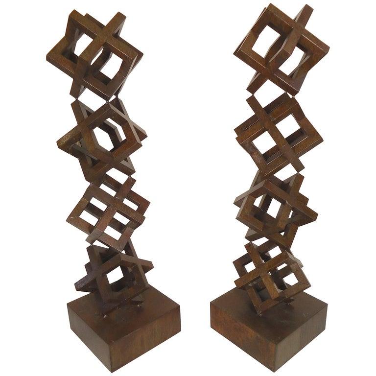 Pair of Iron Geometric Sculptures