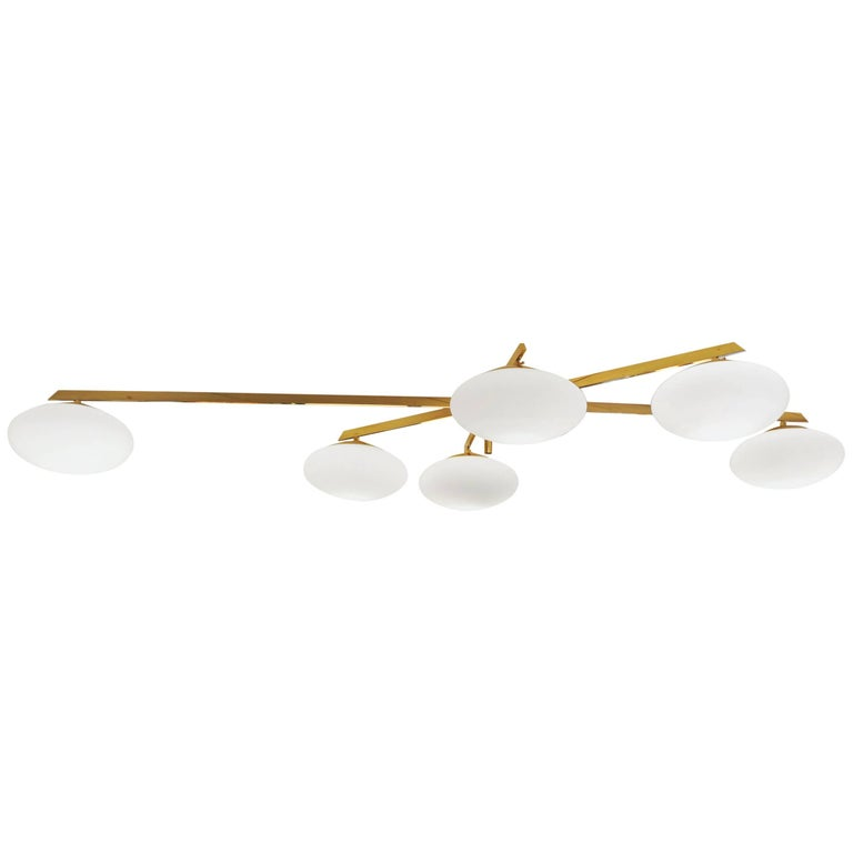 Brass and Opaline Shade Flush Mount chandelier in style of Angelo Lelli