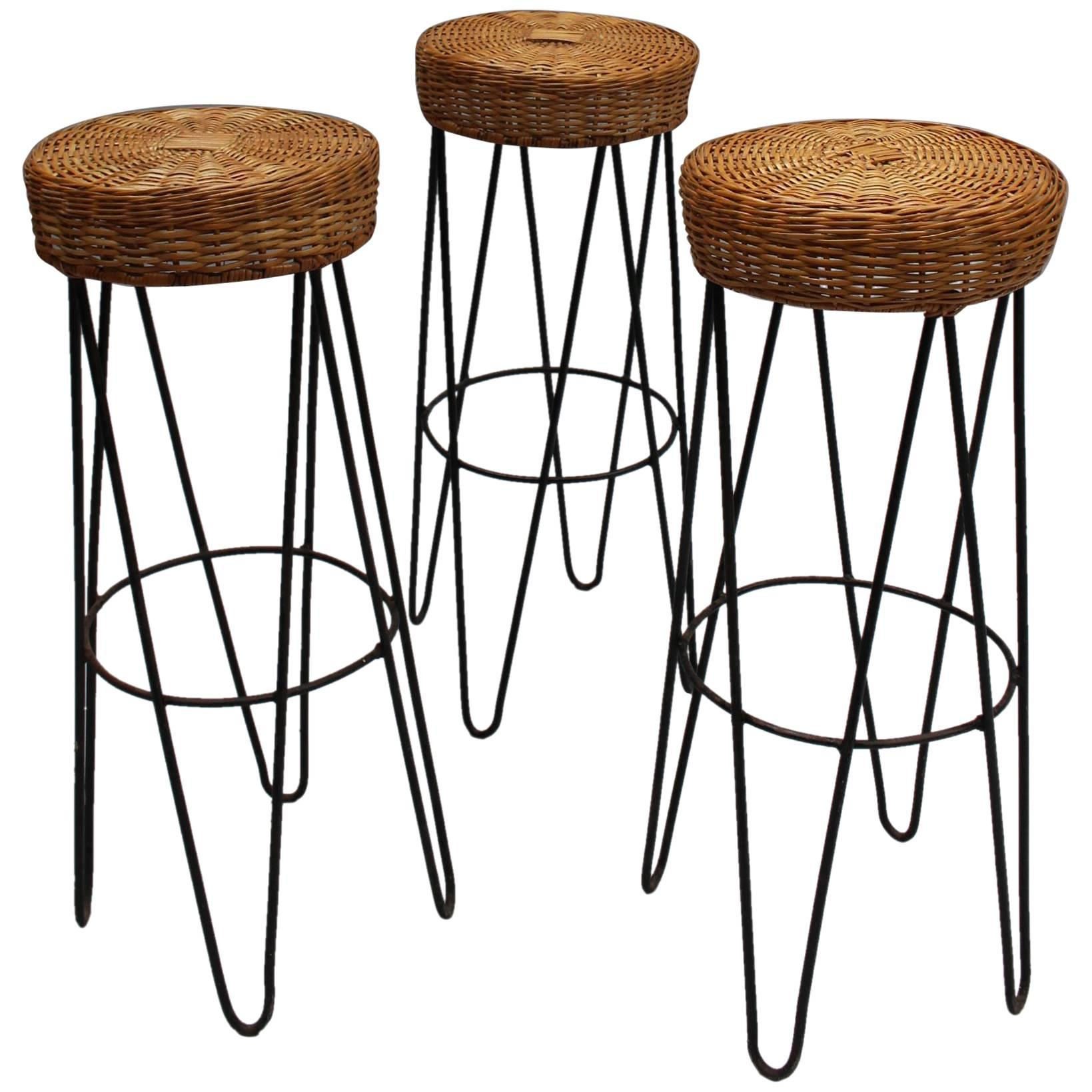 Three French Black Metal and Rattan Bar Stools 1950s For Sale at