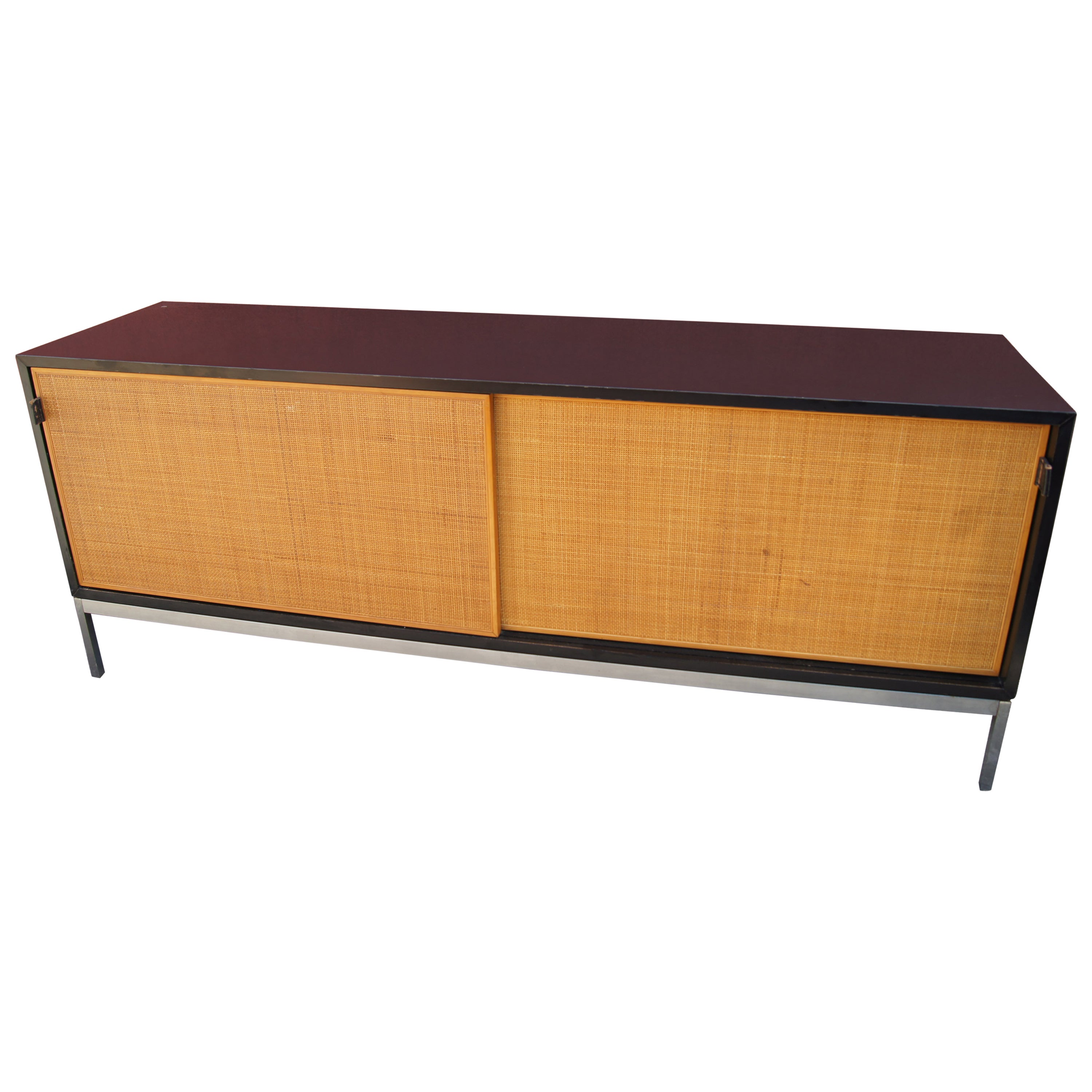 Credenza with Cane Doors and Black Laminate Case by Florence Knoll
