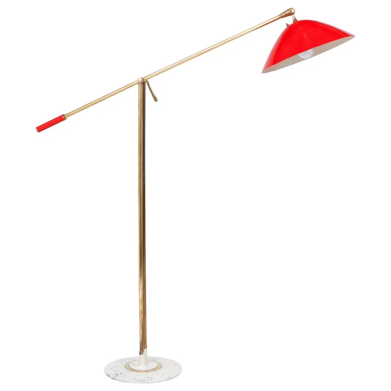 Stilnovo Italian Brass and Red Lacquer Adjustable Floor, Lamp, 1950s