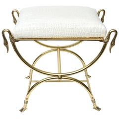 Italian Midcentury Maison Jansen Style Solid Brass and Upholstered Bench