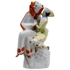 Art Deco Pierrot & Columbine Figurine Heinz Schaubach, Fraureuth Wallendorf