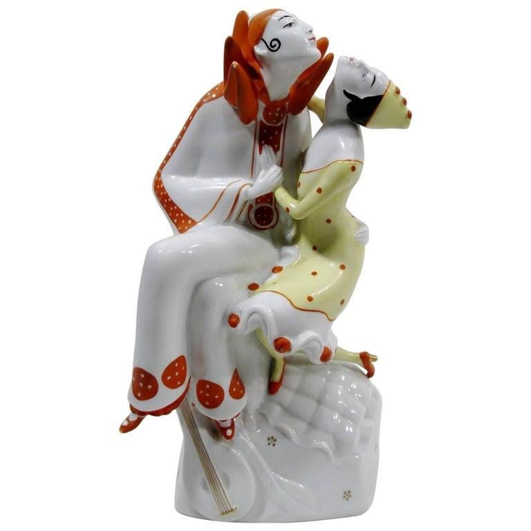 Art Deco Pierrot & Columbine Figurine Heinz Schaubach, Fraureuth Wallendorf 1