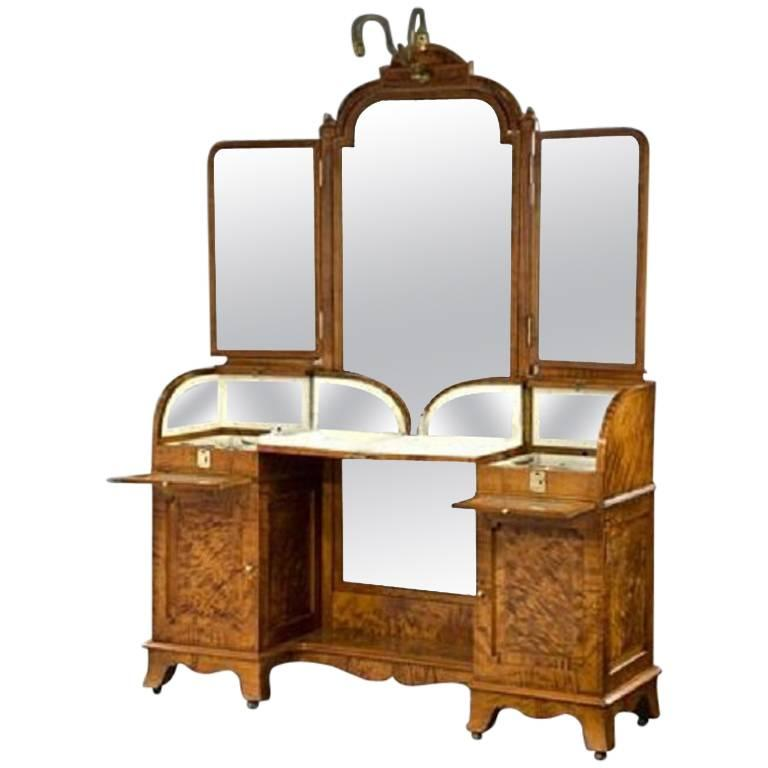 Silver fitted dressing table for sale at 1stdibs for Silver vanity table