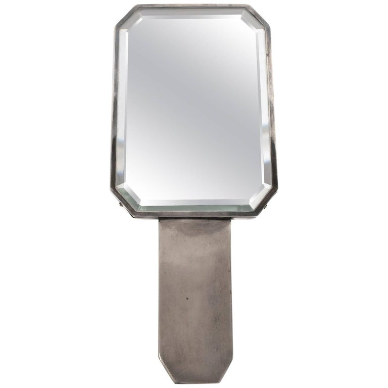 Christofle Silver Plate Hand Mirror by Luc Lanel, circa 1920 1
