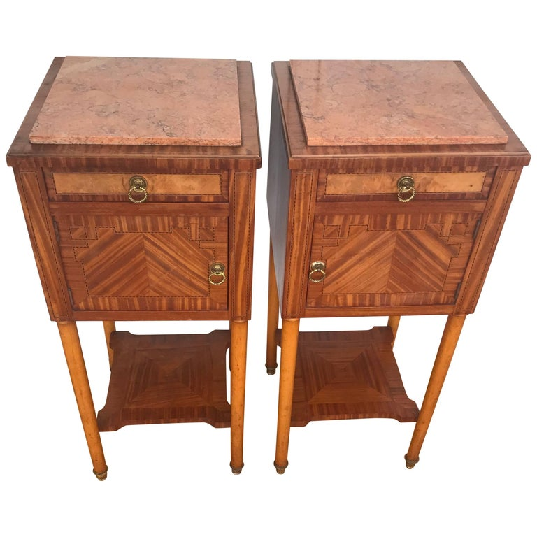 Antique Pair of Napoleon Style Wood & Marble Inlaid Nightstands Bedside Cabinets