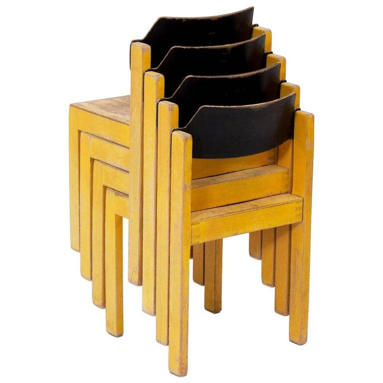 Midcentury German Stackable Yellow Wooden Children's Chairs
