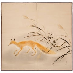 Japanese Two-Panel Screen, Red Fox and Thistle with Wild Grass