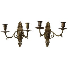 Pair of Louis XVI Style Bonze, French, Wall Sconces with Cherubs
