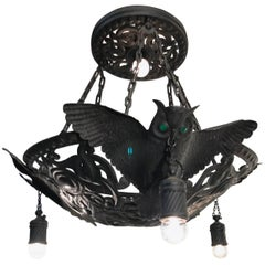 Unique Arts & Crafts Flying Owl Sculptures Pendant / Metal Art Light Fixture