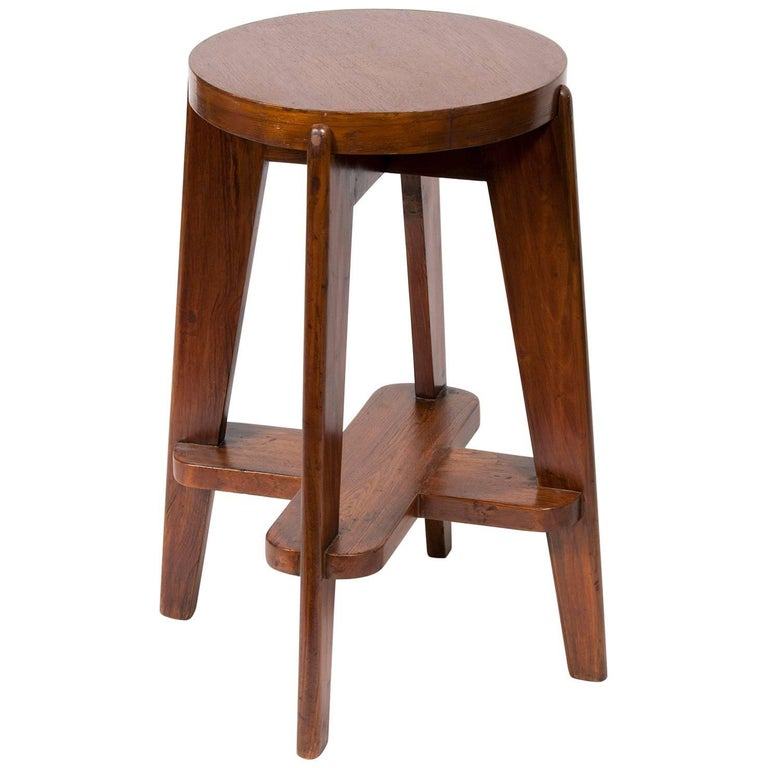 Teak High Stool by Pierre Jeanneret for the City of Chandigarh For Sale