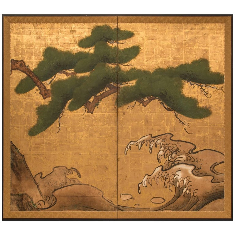Japanese two panel screen rocks and waves with plovers for Chinese furniture gold coast