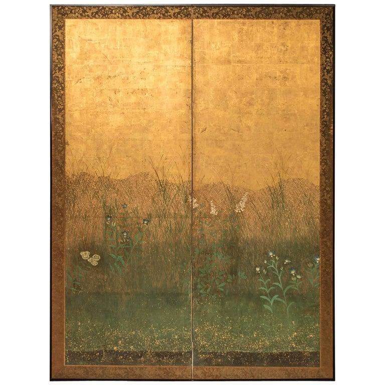"Japanese Two-Panel Screen ""Autumn Flower Design on Gold"""