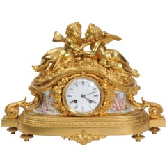 Fine and Early Ormolu and Porcelain Clock, Cherubs