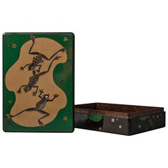 Japanese Lacquer Writing Box 'Suzuribako' with Frog Design