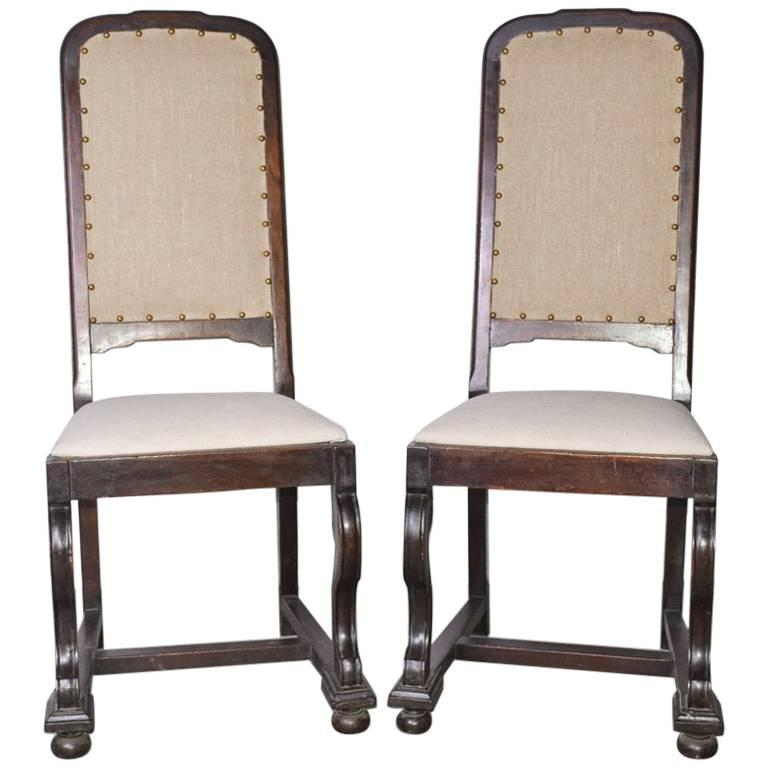 Pair of Antique Jacobean-Revival Side Chairs For Sale