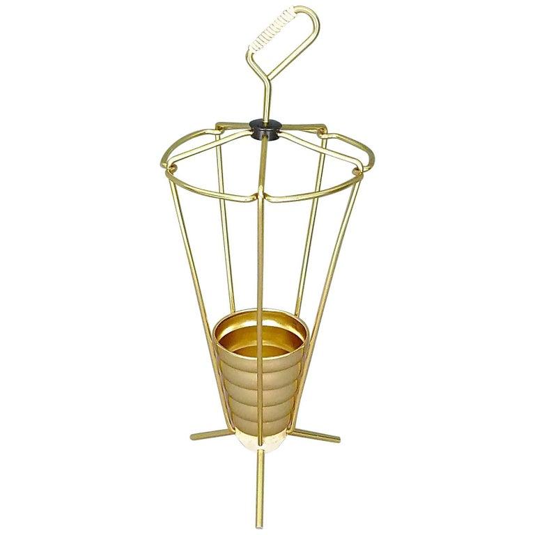Midcentury Tripod Sputnik Umbrella Stand with Handle Golden White Black 1950s For Sale