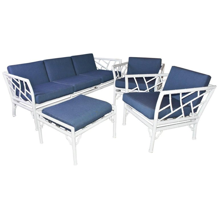 Four Piece Metal Vintage Faux Bamboo Patio Or Porch Set At